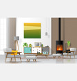 living room interior background with fireplace vector image