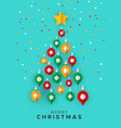 merry christmas card papercut ornament tree vector image vector image