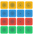 multicolored atom icon set vector image