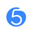number 5 five font logo blue icon vector image vector image