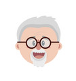 old man face with hairstyle vector image