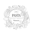 Pasta Assortment Logo Hand Drawn Realistic Sketch vector image vector image