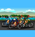people cycling in the competition vector image vector image
