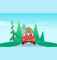 people driving car vacation in nature landscape vector image vector image