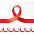 Photorealistic red ribbon in the shape of nines on vector image vector image