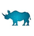 rhino paper cut white vector image