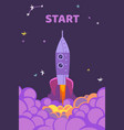 rocket start starting shuttle in sky purple vector image