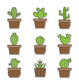 set cactus icons on white background easy vector image vector image
