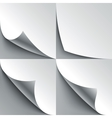 Set of curled white paper page corners with
