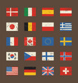 set world flags in grunge style vector image