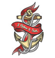 ship anchor colorful tattoo vector image vector image
