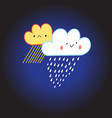 smiling cloud with rain and snow vector image