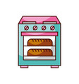 stove oven with two hot bread icon vector image vector image
