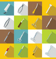 Surgeons tools icons set flat style vector image