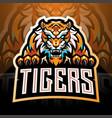 tiger face esport mascot logo vector image