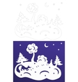 Winter paper cut Snow-covered trees Hare and fox vector image vector image