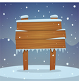 Wooden board in snow vector image vector image