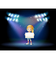 A stage with a young girl holding an empty signage vector image vector image