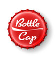 Beer cap red bottle cap mock up temaplate vector image