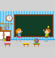 boy and girl writing on blackboard in classroom vector image vector image
