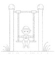 boy on the swing outline vector image vector image