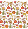 bright red doodle floral pattern with flowers vector image vector image