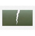 broken metal green plate with a crack vector image vector image