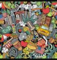 cartoon doodles new york seamless pattern vector image vector image