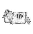 cartoon sleeping rabbit sketch engraving vector image