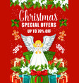 christmas sale poster with xmas gift and present vector image