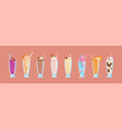 collection of delicious milkshakes in glasses with vector image