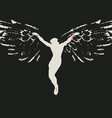 crucified jesus christ with wings religious vector image