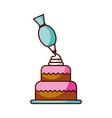 dessert cake and icing bag cream decoration vector image