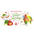 discounts during winter holidays elves with gifts vector image