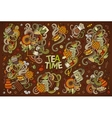 doodle cartoon set of tea and coffe vector image