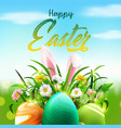 easter greeting card with eggs bunny ears vector image