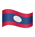 flag of laos waving on white background vector image