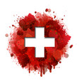 flag switzerland on red paint splashes vector image vector image
