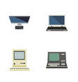 flat icon computer set of computing pc notebook vector image vector image