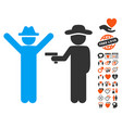gentleman crime icon with dating bonus vector image vector image