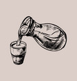 glass and jug milk hand drawn vector image vector image