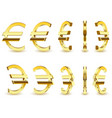 gold sign is a euro on white background vector image vector image