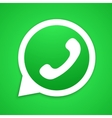 Green Old School Phone Icon inside White vector image