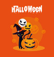 halloween card with pumpkin and cat characters vector image vector image