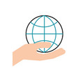 hand holding globe world commerce financial vector image