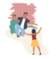 happy couple greeting each other with open arms vector image vector image