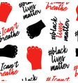 i cant breathe and black lives matter seamless vector image