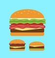 juicy burger set flat image vector image