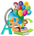 kids and different school items vector image vector image