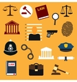 Law justice and police flat icons vector image vector image
